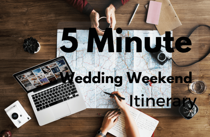 """The 5 Minute Wedding Weekend Itinerary<span class=""""wtr-time-wrap block after-title""""><span class=""""wtr-time-number"""">2</span> min read</span>"""