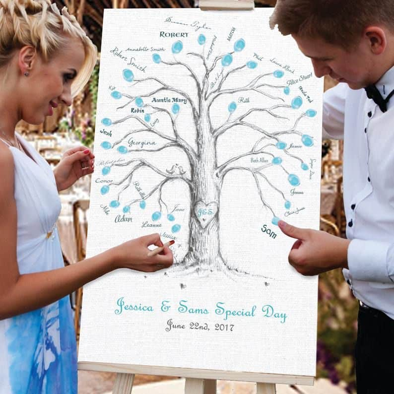 Wedding Guest Book Idea - couple putting thumb prints on a tree painting