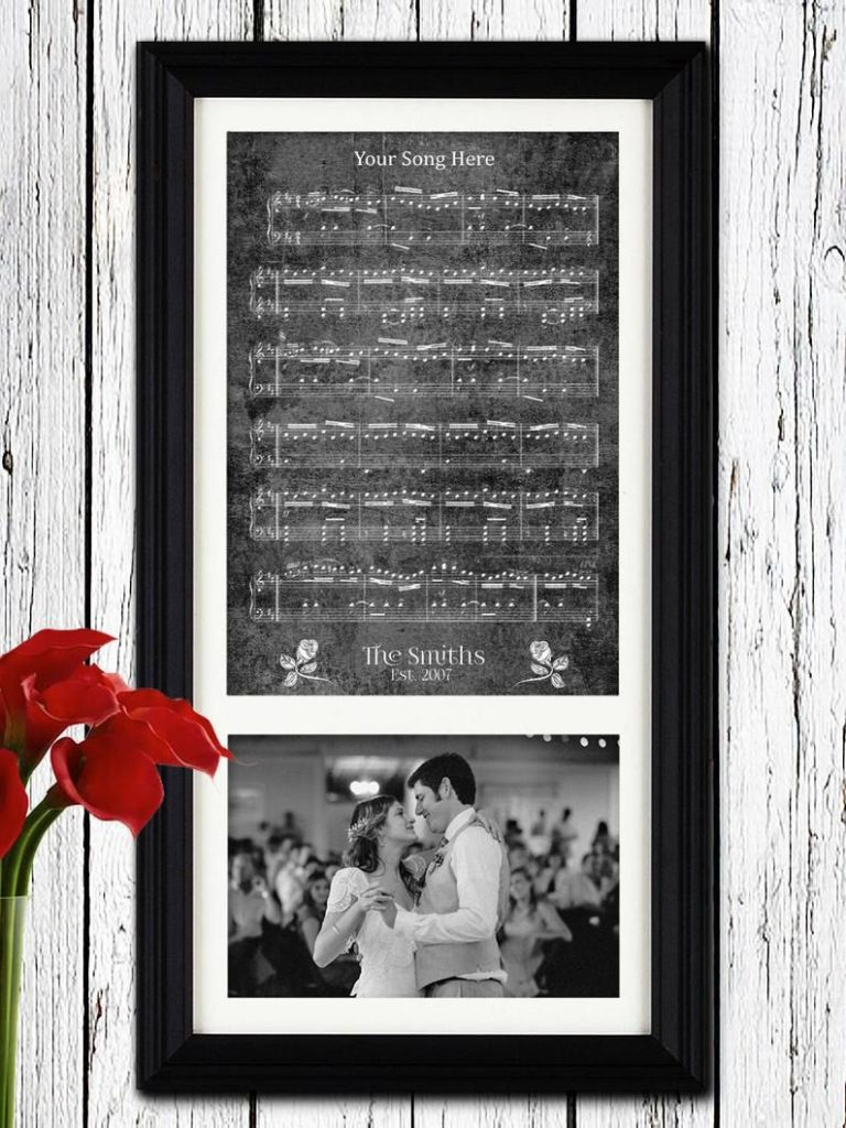 Wedding first dance music sheet with couple image underneath