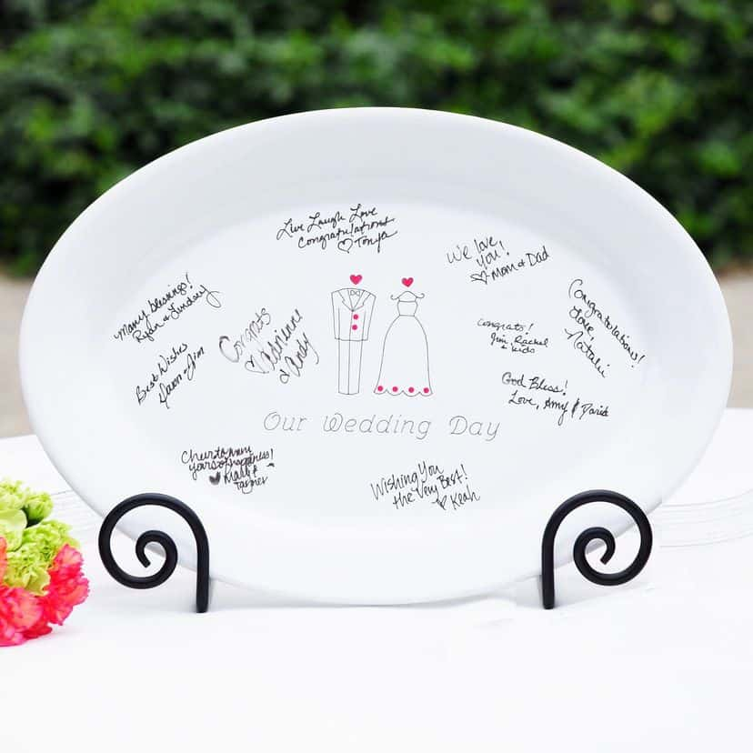 Wedding guest signatures on a platter