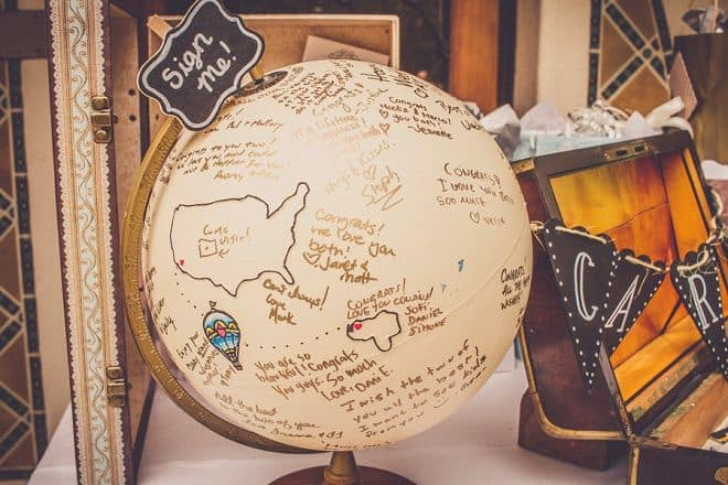 Tan globe with signatures used as a wedding guest book