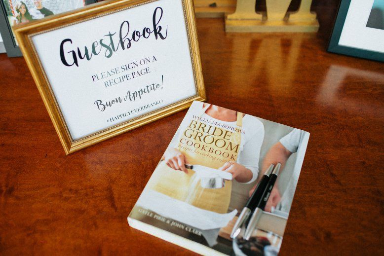 Wedding guest book ideas - cookbook and explanation sign