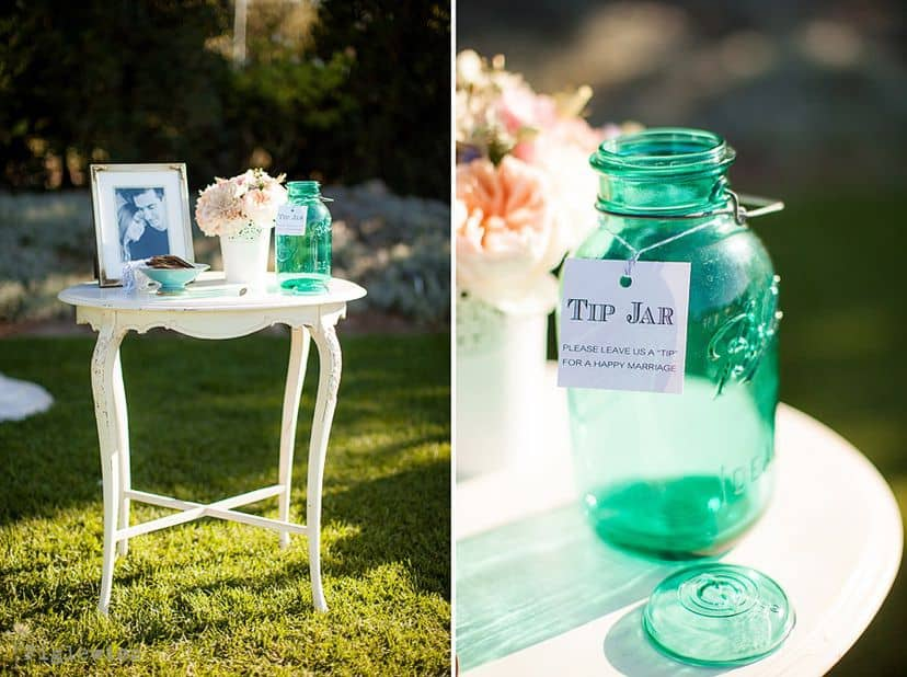 Side by side image of a wedding tip jar