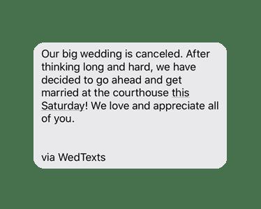 wedding cancellation coronavirus sample text message reminder