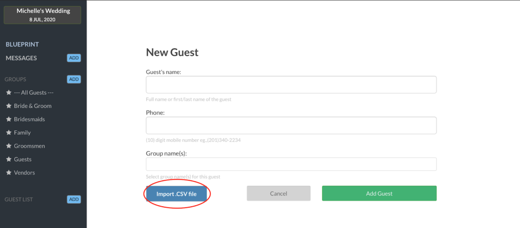 import guest list on wedtexts