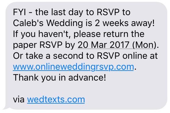 Wedding texting with WedTexts - RSVP reminder