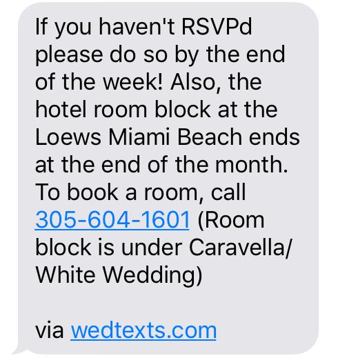 WedTexts' RSVP Message