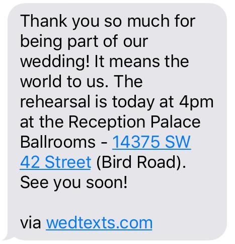 Wedding Rehearsal Reminder