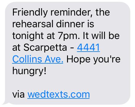 Rehearsal Dinner WedTexts Reminder