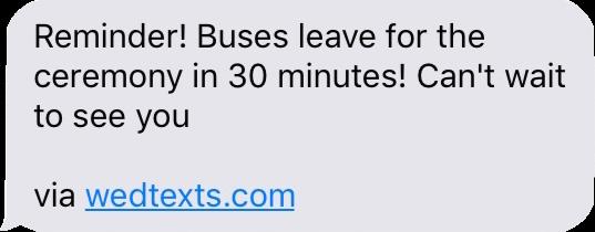 Wedding Texting - Bus reminder