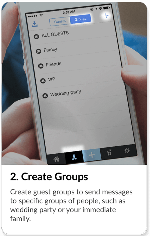 Create any necessary groups for your wedding